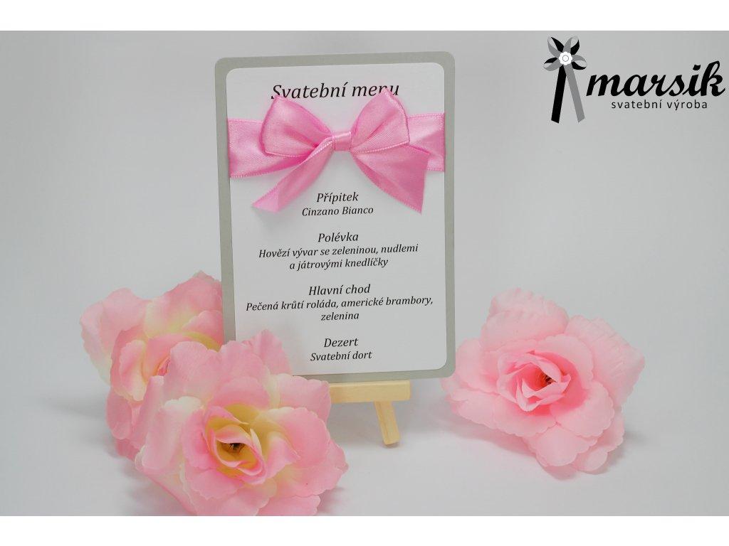 Svatební menu silver pink