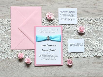 Pozvánka ke stolu blue pink
