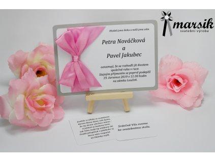 Svatební oznámení silver pink