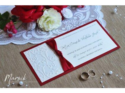 Svatební oznámení bordo floral