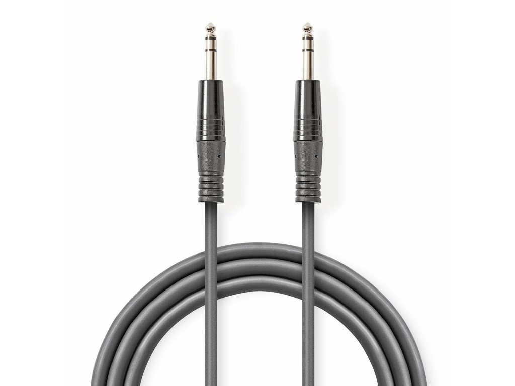 2405 stereo audio kabel m 6 35 mm m 6 35 mm poniklovany 3 00 m kulaty tmave seda karton