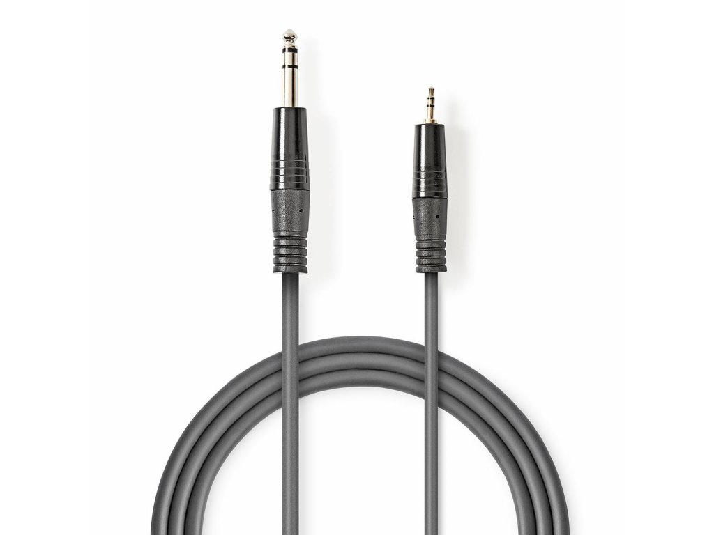 2420 stereo audio kabel m 6 35 mm 3 5 mm f poniklovany 1 50 m kulaty tmave seda karton