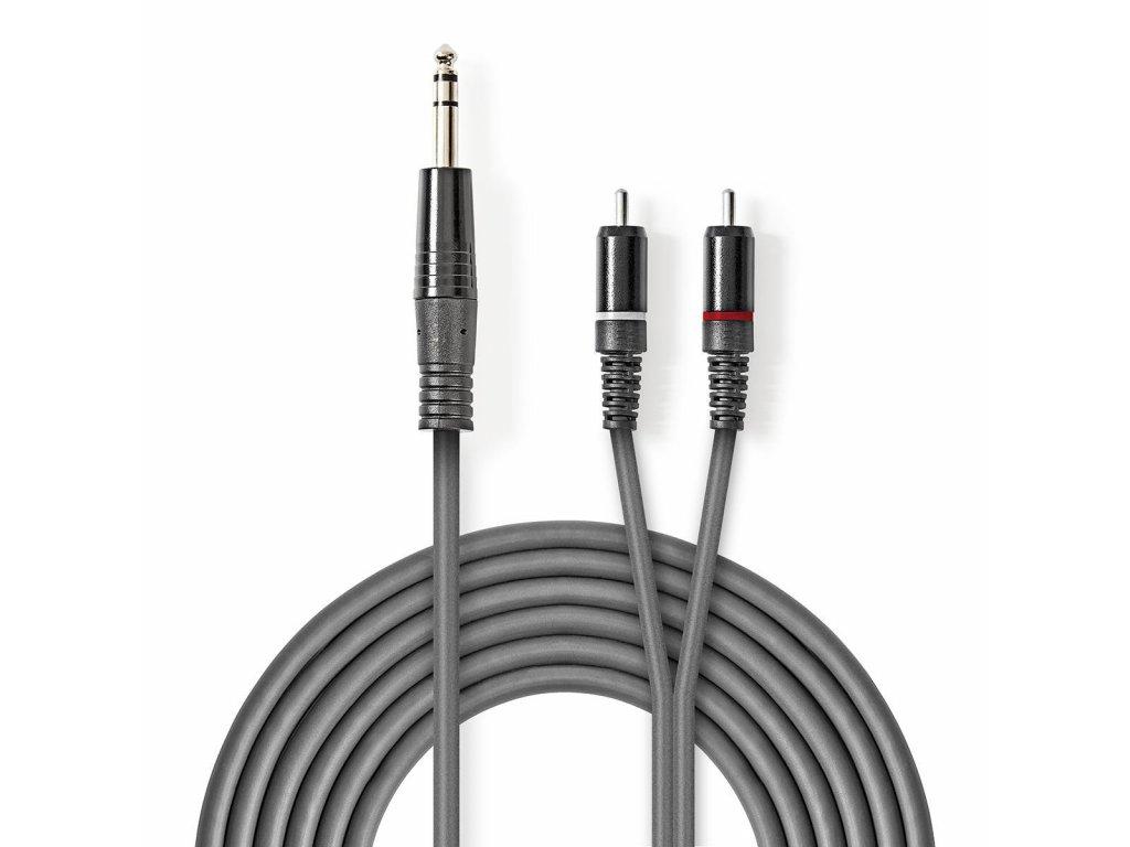 2429 stereo audio kabel m 6 35 mm 2x rca f poniklovany 3 00 m kulaty tmave seda karton