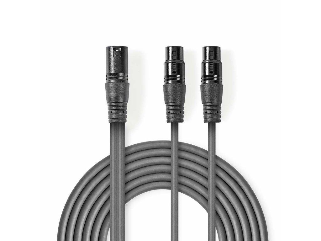 2495 symetricky audio kabel xlr 3pinovy f 2x xlr 3pinova zasuvka f poniklovany 1 50 m kulaty pvc tmave seda karton