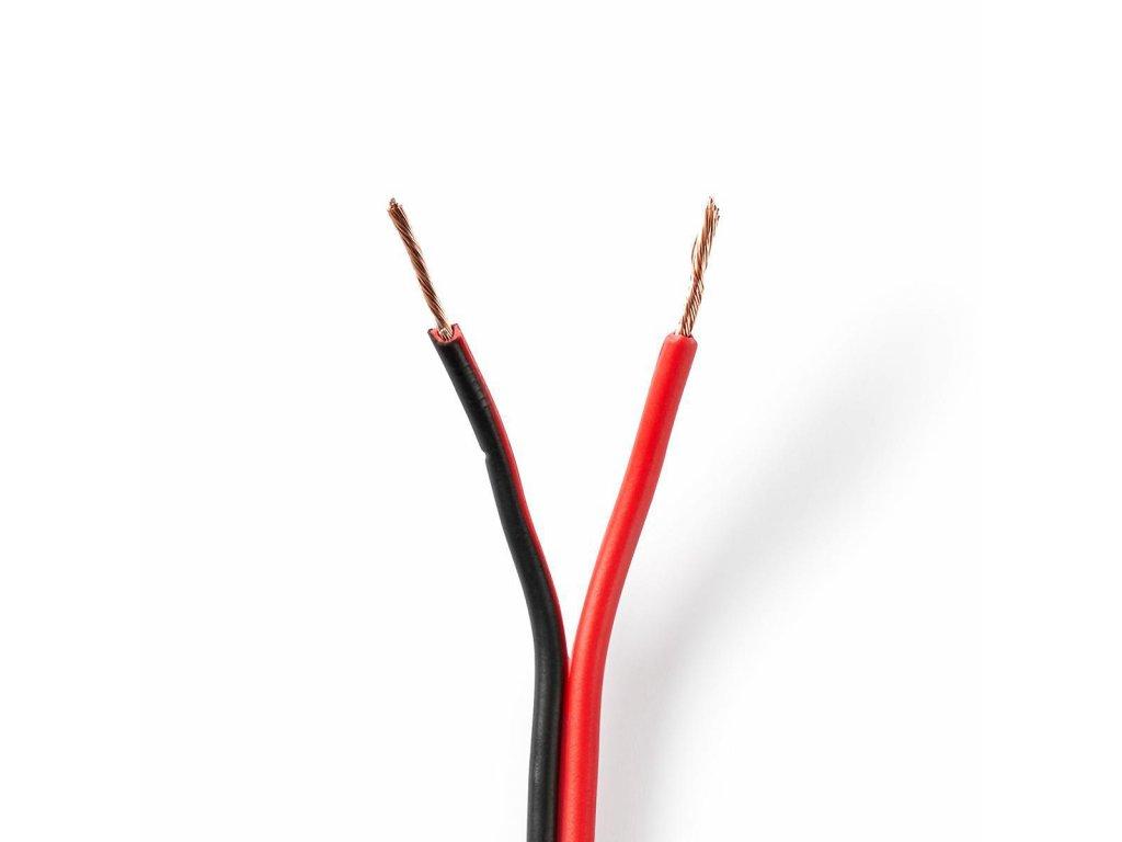 2825 repro kabel 2x 0 75 mm cca 25 0 m kulaty pvc cerna cervena klubko