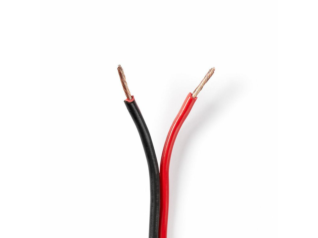 2852 repro kabel 2x 1 50 mm cca 15 0 m kulaty pvc cerna cervena klubko