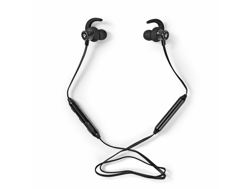 788 1 sportovni sluchatka bluetooth do ucha flexibilni kabel cerna