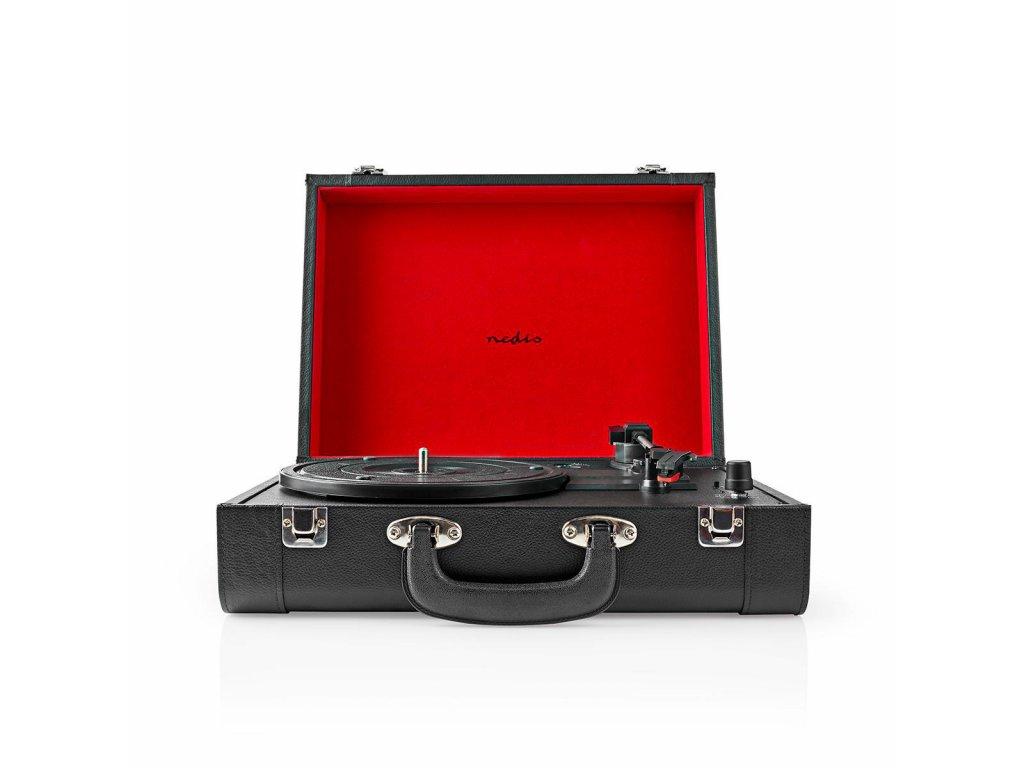 800 1 gramofon 33 rpm 45 rpm 78 rpm remenovy pohon 1x stereo rca bluetooth 18 w vestaveny pred zesilovac mdf kozeny vzhled cerna cervena