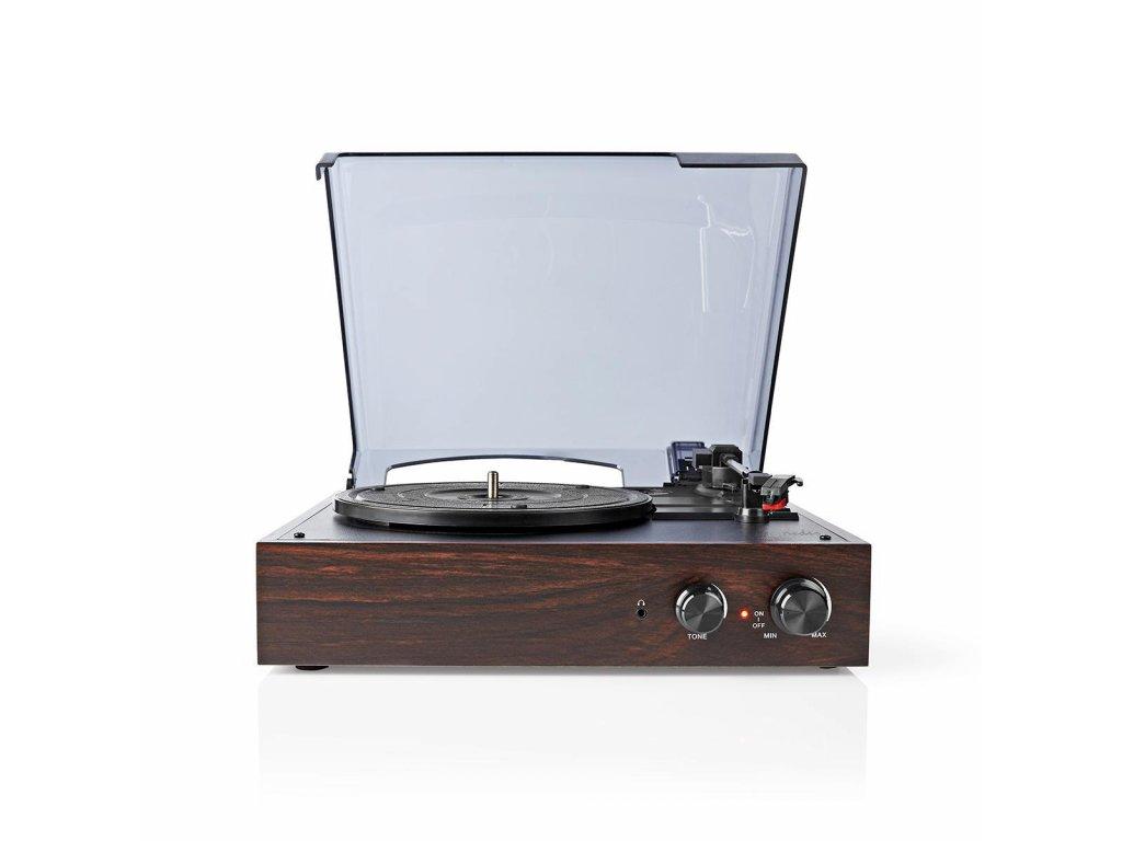 803 1 gramofon 33 rpm 45 rpm 78 rpm remenovy pohon 1x stereo rca 18 w vestaveny pred zesilovac prevod mp3 mdf abs hneda