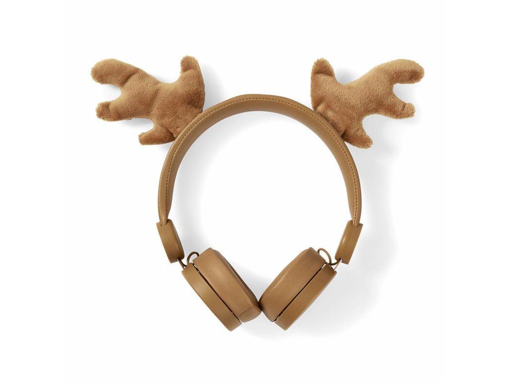 842 1 dratova sluchatka 1 2m kulaty kabel na usi odpojitelna magneticka ouska rudy reindeer hneda