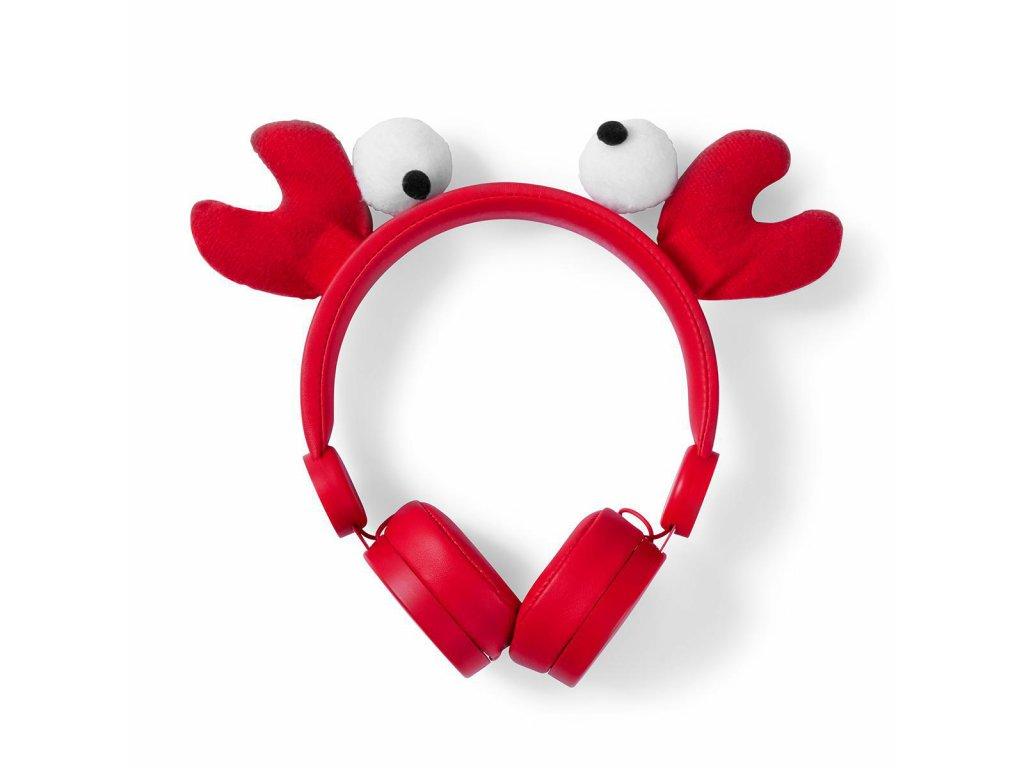 854 1 dratova sluchatka 1 2m kulaty kabel na usi odpojitelna magneticka ouska chrissy crab cervena