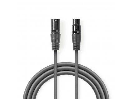 2513 symetricky audio kabel xlr 3pinovy f xlr 3pinova zasuvka f poniklovany 10 0 m kulaty pvc tmave seda darkovy box