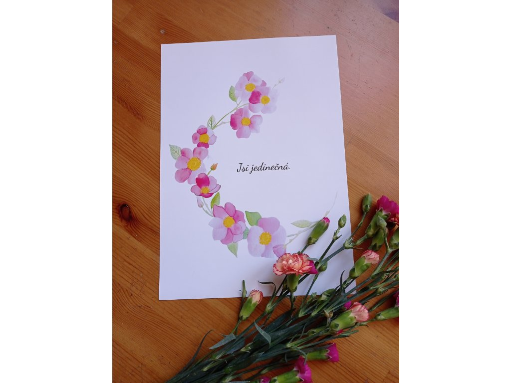 Akvarelový plakát - Jsi jedinečná