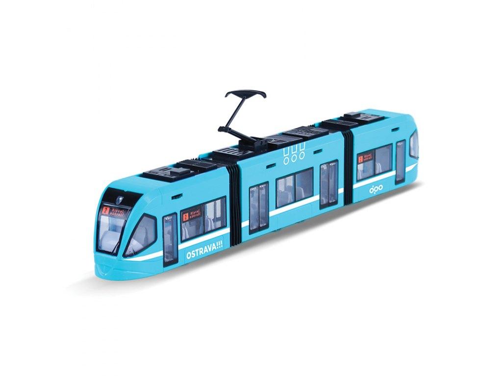 Moderní Tramvaj DPO OSTRAVA modrá