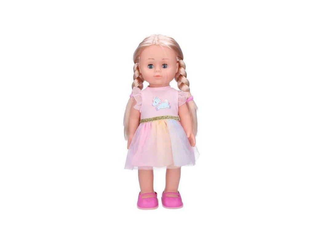 Eliška chodící panenka 41 cm, růžové šaty