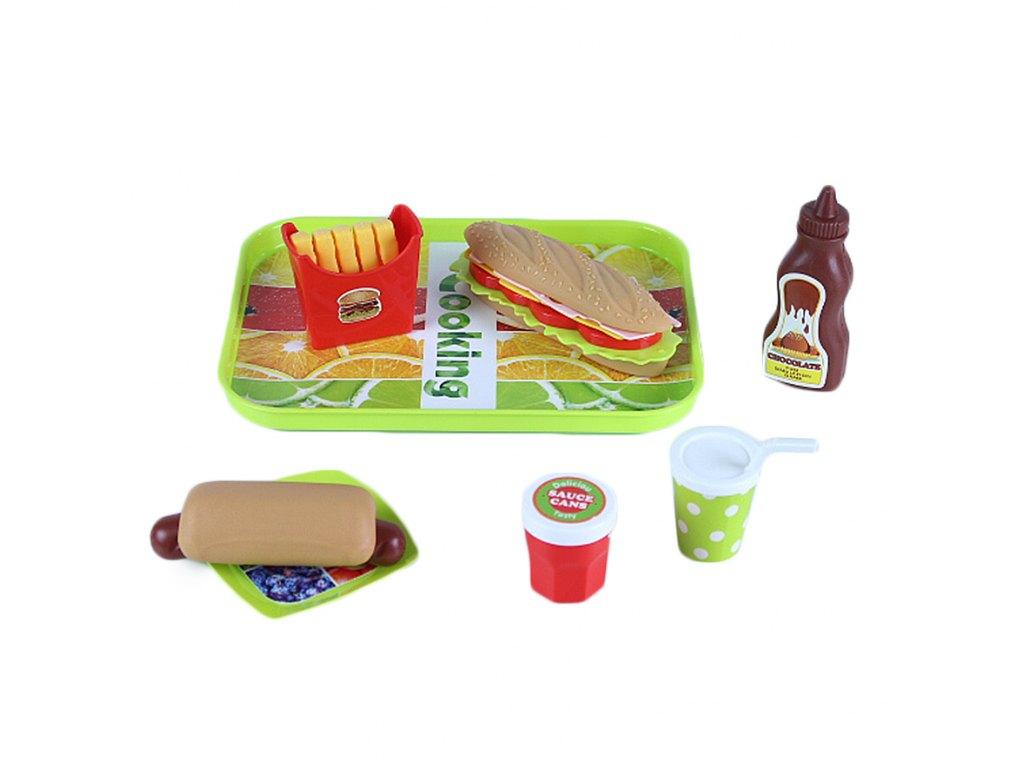 Set jídlo - párek v rohlíku s táckem