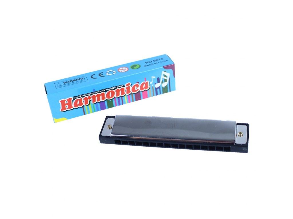 Harmonika kovová s papírovou krabičkou