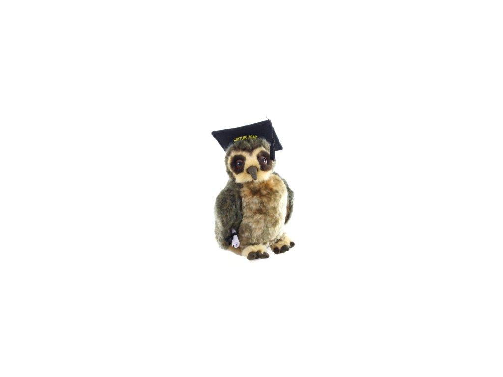 Plyšová sova s absolventskou čepicí 23 cm