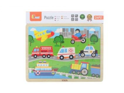 Dřevěné puzzle 24 dílků - doprava