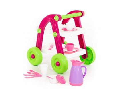 Barový stolek růžový s příslušenstvím