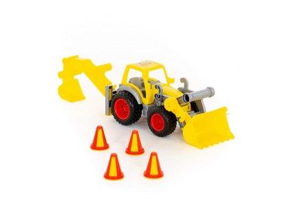 Traktor ConsTruck s lopatou a rypadlem