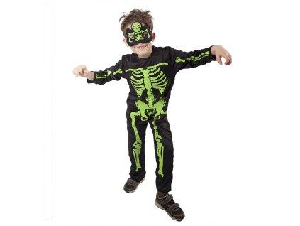 Dětský kostým Kostlivec NEON (M)