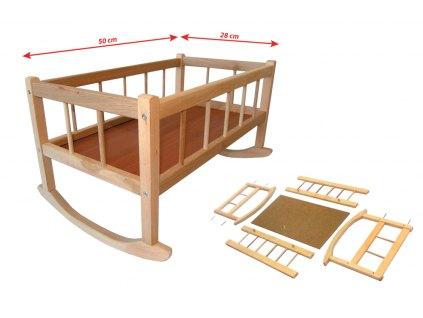 Kolébka dřevěná, 50 x 28 cm