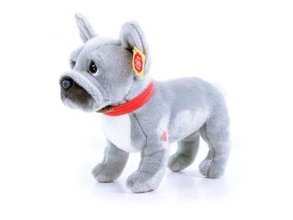 Plyšový pes francouzský buldoček šedý stojící, se zvukem, 30 cm