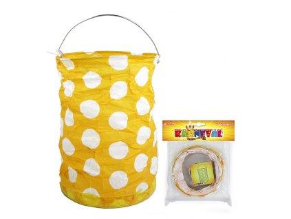 Lampion žlutý s tečkami, krčený, 15 cm