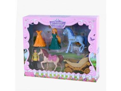 Sada kočár s koňmi a princezna s odnímatelnými šaty