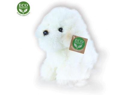 Plyšový pes bišon sedící, 18 cm, ECO-FRIENDLY