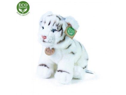 plyšový tygr bílý sedící, 25 cm, ECO-FRIENDLY