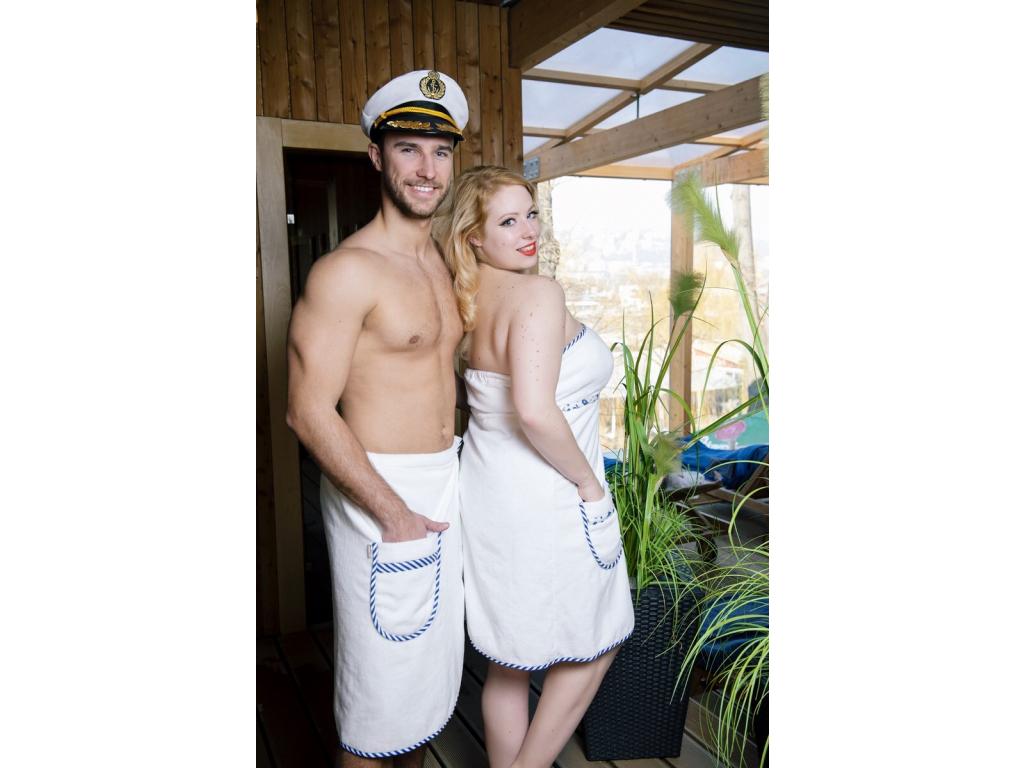 Bílý dámský a pánský kilt do sauny, dárkový set