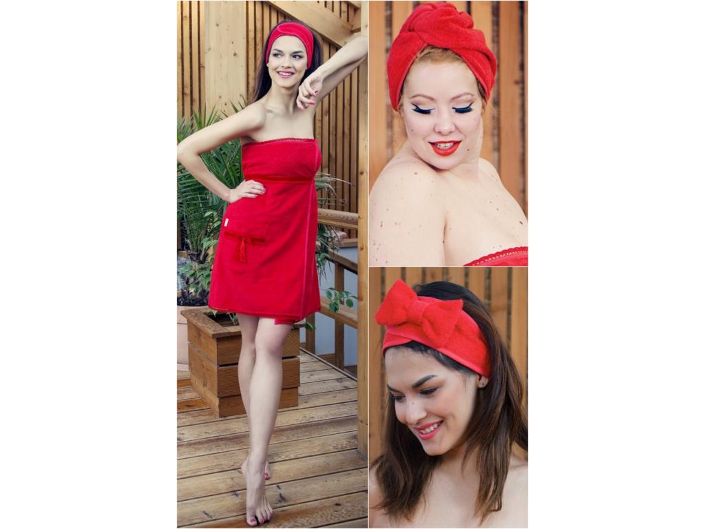 Červený krajkový wellness set pro ženy