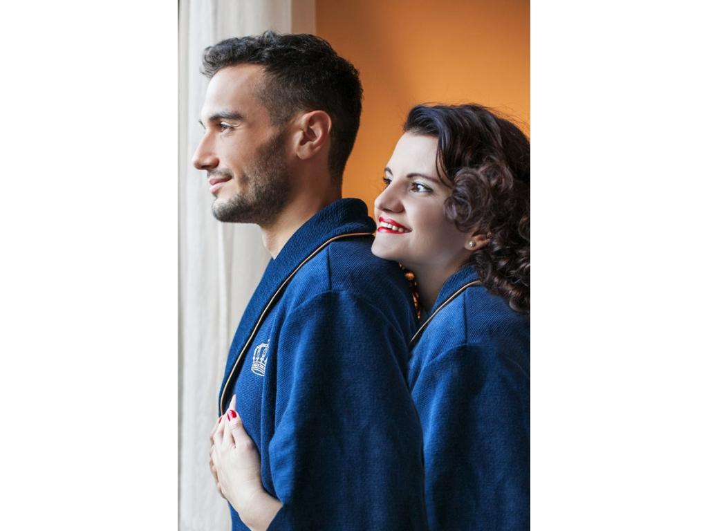 Párový set županů Royal in Blue - svatební dar pro novomanžele