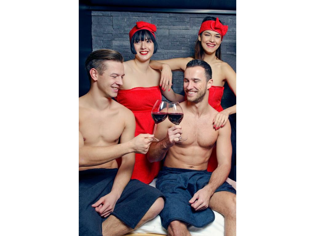 Dárkový set do sauny - dámský červený kilt a pánský černý kilt