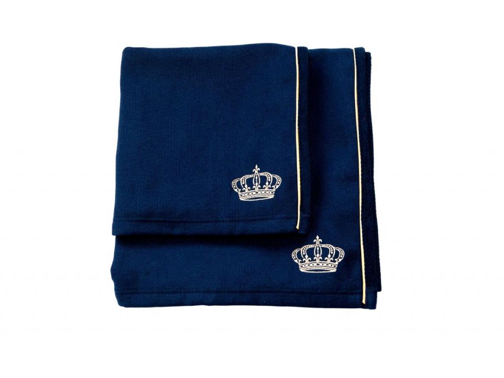 Modrá osuška a ručník s výšivkou Royal in Blue – Golden Edition