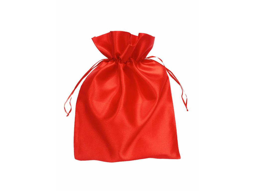 Střední červený saténový dárkový sáček