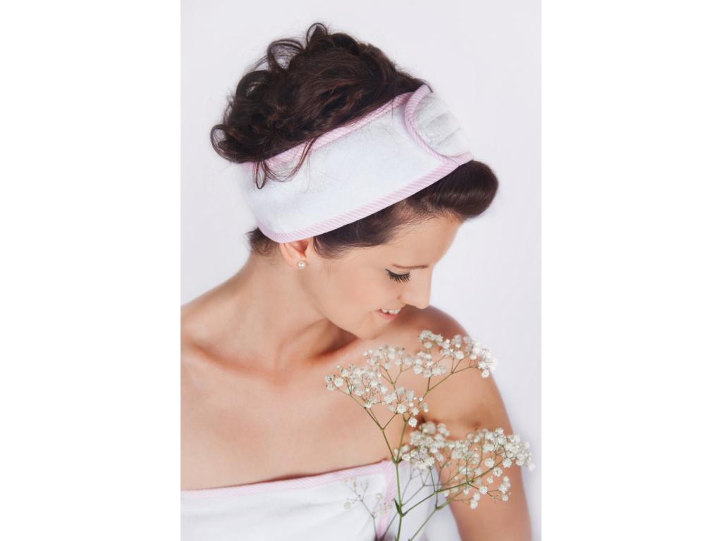 Pinky Ice-Cream: Bílo-růžová pruhovaná kosmetická čelenka od MaryBerry
