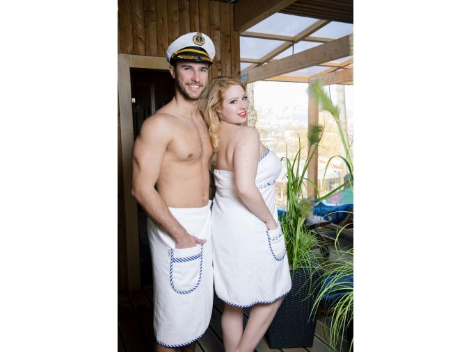 Luxusní pánský bílý kilt do sauny v námořnickém stylu