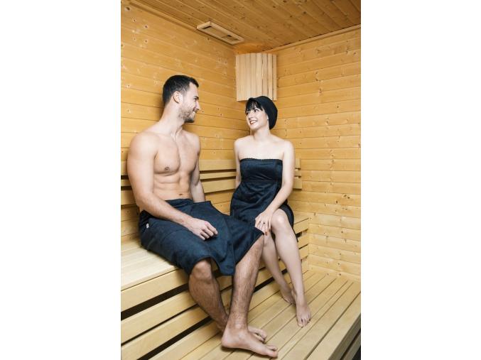 Černý dámský a pánský kilt do sauny, dárkový set