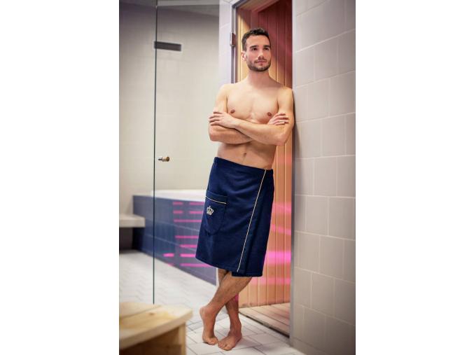 Royal Collection: Luxusní pánský modrý kilt do sauny s výšivkou