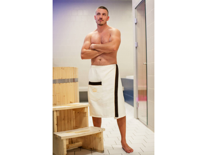 Luxusní pánský krémový kilt do sauny s výšivkou Royal in Gold