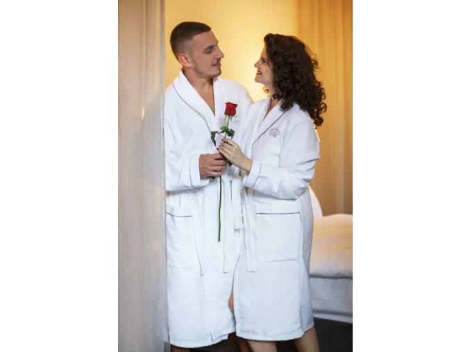 Párový set županů Royal in White - originální dárek na svatbu i k výročí