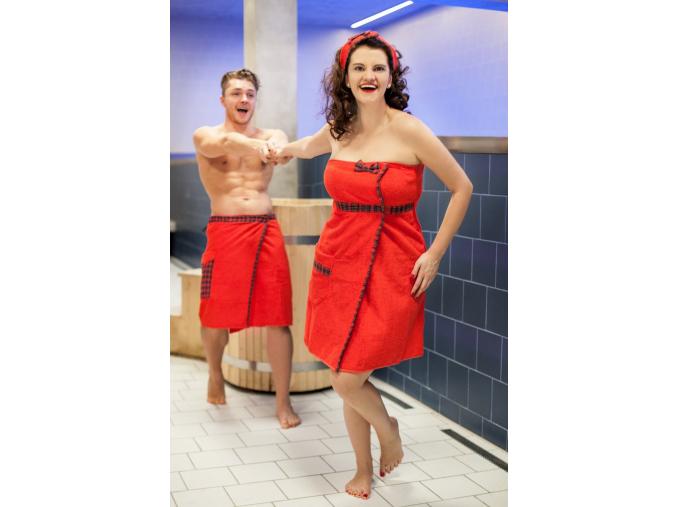 Dárkový set do sauny - červené párové kilty ve skotském stylu