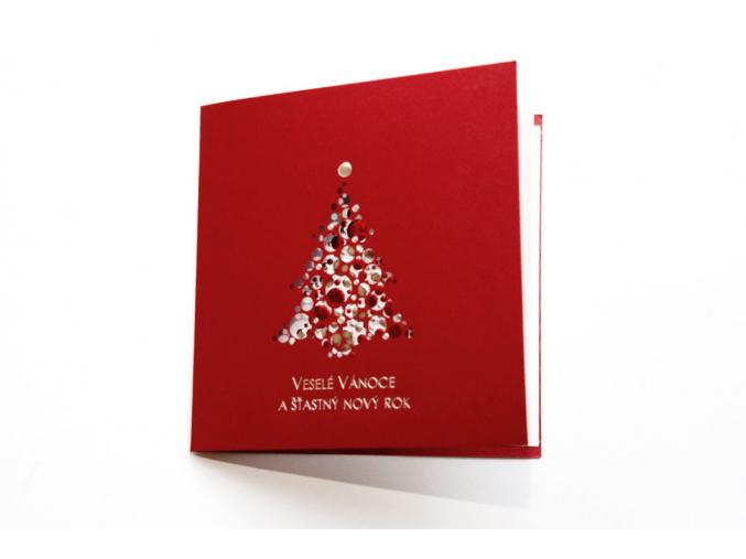 Červené vánoční přání se stromečkem
