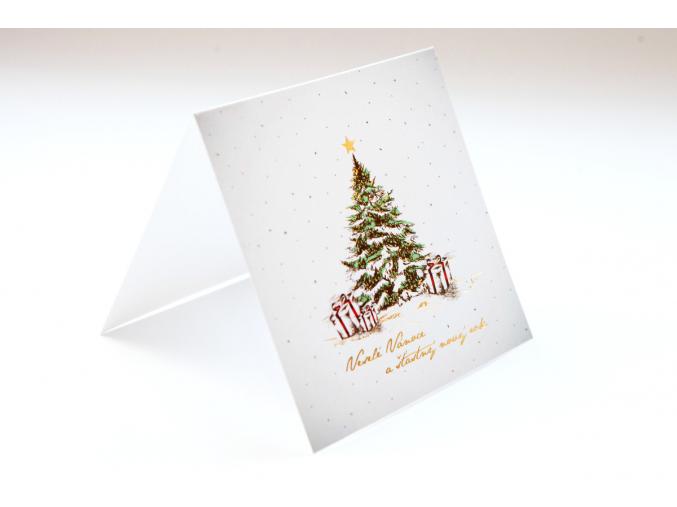 Bílé vánoční přání se stromečkem a zlatým věnováním