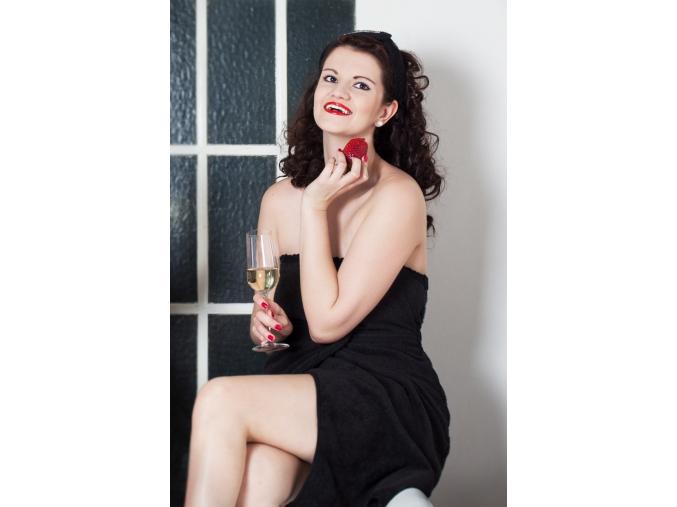 Černý dámský kilt do sauny s krajkou - Little Black Dress
