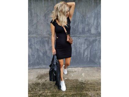 Krátké žebrované šaty s mini rukávkem