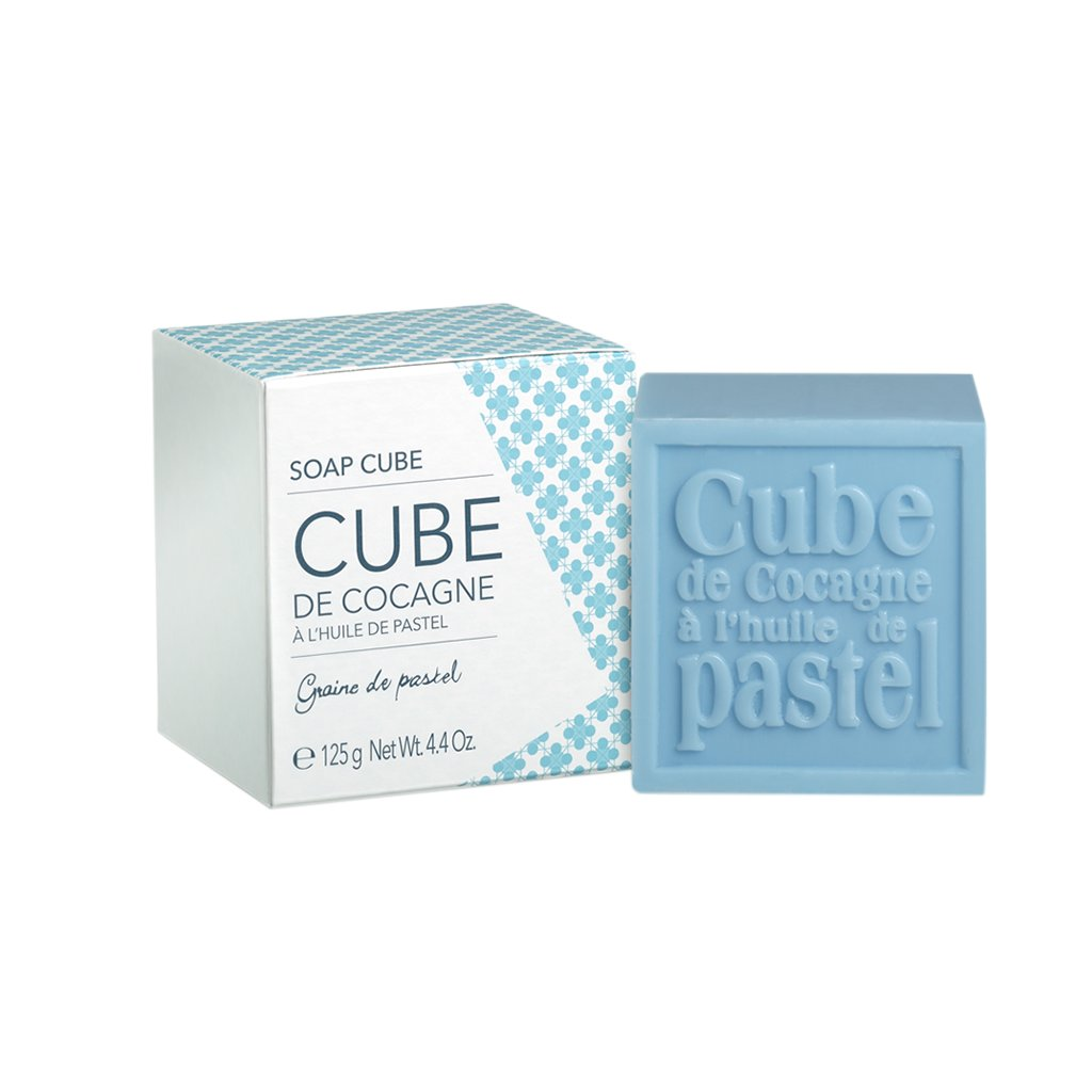Francouzská přírodní kosmetika Soap cube in cardboard box Bleu Alazado